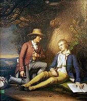 Streicher auf der Flucht mit seinem Freund Friedrich Schiller (Quelle: Wikimedia)