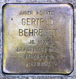 Photo of Gertrud Behrendt brass plaque
