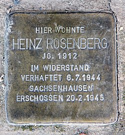 Photo of Heinz Rosenberg brass plaque