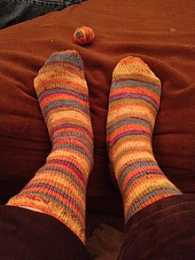 73126b063c7e Striped, hand-knit socks