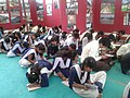 Students participating in essay competition 'Mere Sapno Ka Bharat', during Bharat Nirman Public Information Campaign, organised by the Press Information Bureau, Indore, at Jhabua, Madhya Pradesh on August 13, 2013.jpg