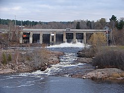 Power dam on the Sturgeon River in Sturgeon Falls.