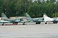 Sukhoi Su-25SM Frogfoot RF-93050 21 red & RF-93052 25 red (8502488575).jpg