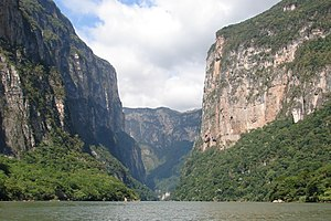 Spanish conquest of Chiapas - The Sumidero Canyon is formed as the Grijalva River cuts across the central plateau of Chiapas