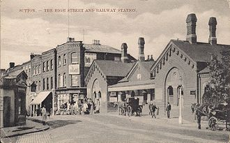 Sutton (Surrey) railway station - The former Sutton station in a 1905 postcard