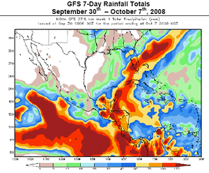 October 2008 Central America floods - Rainfall forecast for first week of October 2008 for Central America; darker shades of red indicate the threat for heavy rainfall