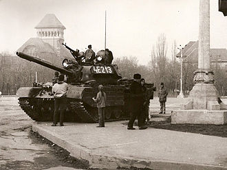 TR-85 - TR-85 tank in Bucharest during the Romanian Revolution of 1989.