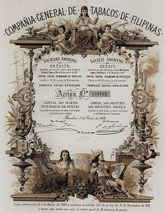 Compañía General de Tabacos de Filipinas - Compañía General de Tabacos de Filipinas stock certificate