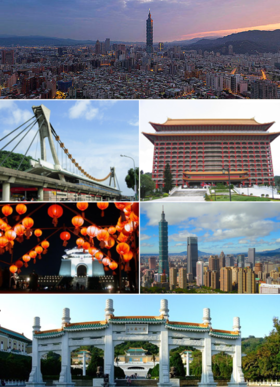 Clockwise from top: Taipei skyline with the Taipei 101 in the background, Grand Hotel, Far Eastern Plaza, National Palace Museum, Chiang Kai-shek Memorial Hall, Jiantan Station