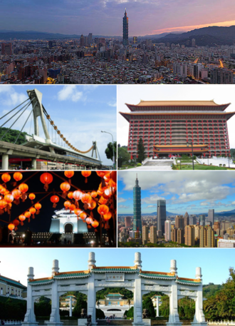 Taipei - Clockwise from top: Taipei skyline, Grand Hotel, Far Eastern Plaza, National Palace Museum, Chiang Kai-shek Memorial Hall, Jiantan Station