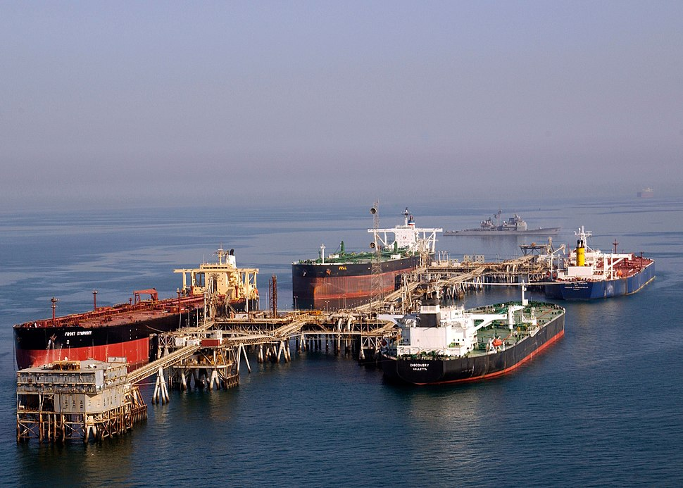 Tankers at the Iraqi Al Basra Oil Terminal in the Northern Arabian Gulf