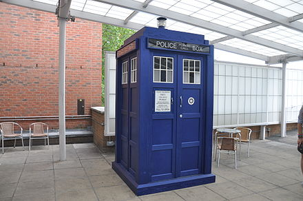 The TARDIS prop used from 2010-2017. Tardis BBC Television Center.jpg