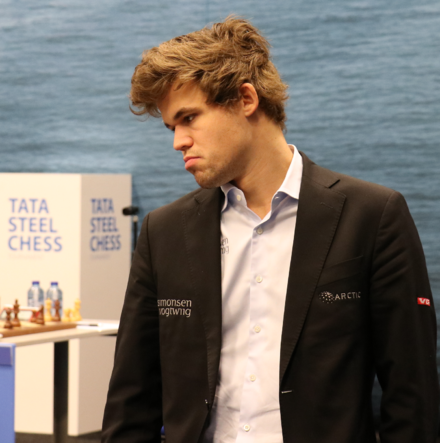 Carlsen at the 79th Tata Steel Chess Tournament, 29 January 2017 Tata Steel 2017 Magnus Carlsen (cropped).png