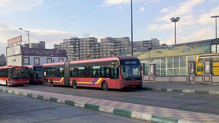 Tehran's bus rapid transit at the Azadi Terminal Tehran BRT bus transport system.jpg