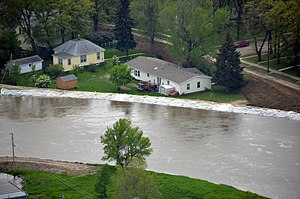 2011 Souris River flood - The Souris River just before rising over the temporary levees