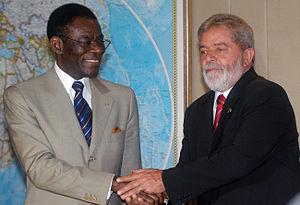 Corruption in Equatorial Guinea - Teodoro Obiang Nguema Mbasogo with then-President of Brasil, Luiz Inácio Lula da Silva.