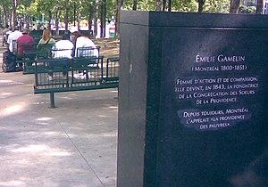 Place Émilie-Gamelin - Memorial in park to Émilie Gamelin.