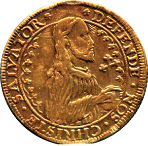 Danzig rebellion - Thaler issued by the city during the siege in 1577, with Jesus Christ on obverse instead of King Stefan Batory