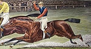 The Bard (British horse) - Engraving of The Bard racing at Epsom Downs in the 1886 Derby