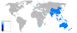 The Amazing Race Asia - Countries that The Amazing Race Asia has visited are shown in colour.