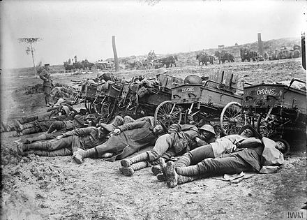 Lewis gun section of the 8th (Service) Battalion, Devonshire Regiment resting after an attack near Fricourt, France, August 1916. The Battle of the Somme, July-november 1916 Q1395.jpg