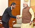 The CEO of Google, Mr. Sundar Pichai calls on the Prime Minister, Shri Narendra Modi, in New Delhi on December 17, 2015.jpg