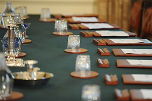 Cabinet (government) - The Cabinet table in the United Kingdom.