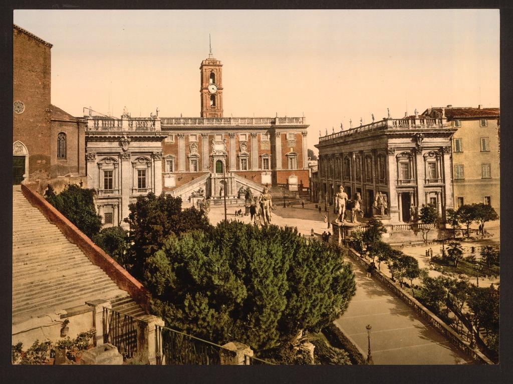 Vue sur la place du Capitole à Rome.