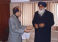 The Chief Minister of Punjab, Shri Prakash Singh Badal met the Union Minister for Water Resources, Prof. Saifuddin Soz to discuss the water resources related issues in the State, in New Delhi on January 22, 2008.jpg