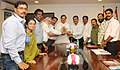 The Gen. Secretary, Tourist Guides Federation of India, Dr. Ajay Singh along with a delegation meeting the Minister of State for Culture (Independent Charge), Tourism (Independent Charge) and Civil Aviation.jpg