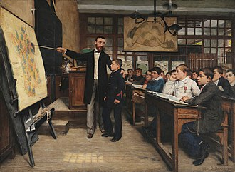 "A painting by Alphonse-Marie-Adolphe de Neuville from 1887 depicting French students being taught about the lost provinces of Alsace-Lorraine, taken by Germany in 1871. The Geography Lesson or ""The Black Spot"".jpg"