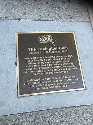 The Lexington Club - Commemorative sidewalk plaque outside the former Lexington Club