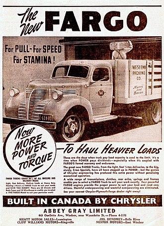 Fargo Trucks - 1942 Fargo trucks ranged from light to heavy-duty, in 68 variants on 12 wheelbase lengths (Canada).