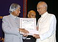 The President, Dr. A.P.J. Abdul Kalam presenting the National Communal Harmony Award-2006 to Shri Ravindra Nath Upadhyay, in New Delhi on May 23, 2007.jpg