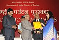 The President, Shri Pranab Mukherjee presenting the National Tourism Awards 2011-12, at a function, in New Delhi on March 18, 2013. The Minister of State (Independent Charge) for Tourism, Shri K. Chiranjeevi is also seen (2).jpg
