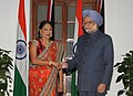 The Prime Minister, Dr. Manmohan Singh meeting the Prime Minister of the Republic of Trinidad and Tobago, Mrs. Kamla Persad-Bissessar, in New Delhi on January 06, 2012.jpg