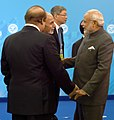 The Prime Minister, Shri Narendra Modi with the Prime Minister of Pakistan, Mr. Nawaz Sharif and the President of Afghanistan, Md. Ashraf Ghani, at SCO summit, in Ufa, Russia on July 10, 2015.jpg