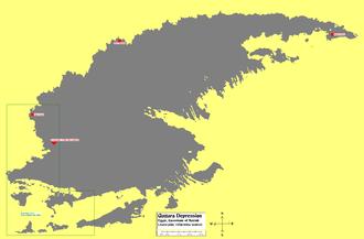 "Qattara Depression - Map of the Qattara Depression.  Lower left bound: 28°36'30.74""N 26°14'31.08""E.  Upper right bound: 30°31'1.74""N 29° 8'51.83""E."