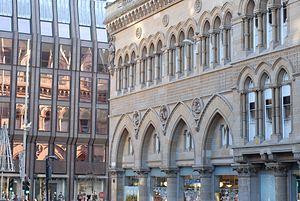 Glasgow Stock Exchange - Stock Exchange Building, Glasgow, Nelson Mandela Place. John Burnet senior, 1875. Extended by JJ Burnet after 1894.