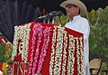 The Union Minister for Civil Aviation, Shri Ajit Singh addressing at the Passing out Parade ceremony of the First batch of A S IExe trainees of CISF, at Regional Training Centre Arakkonam, in Tamil Nadu on July 21, 2012.jpg