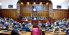 The Vice President, Shri M. Venkaiah Naidu addressing the Special Session of the National Assembly of Serbia, at the National Assembly, in Belgrade, Serbia on September 15, 2018.JPG