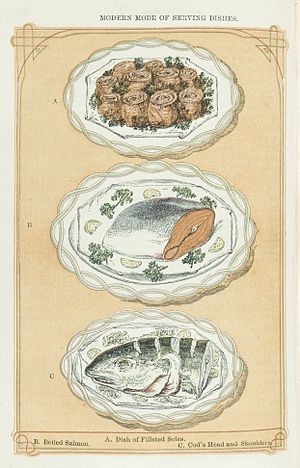 Mrs Beeton's Book of Household Management - Presentation of fish dishes: filleted soles, boiled salmon, cod's head and shoulders