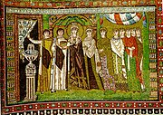 Theodora (here with her retinue, mosaic from Basilica of San Vitale, Ravenna), Justinian's influential wife, was a former mime actress, whose earlier life is vividly described by Procopius in Secret History.