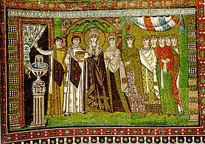 Justinian's wife Theodora and her retinue, in a 6th century mosaic from the Basilica of San Vitale in Ravenna.