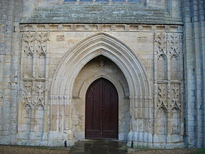 Thorney Abbey - The central door of the Thorney Abbey's west front.