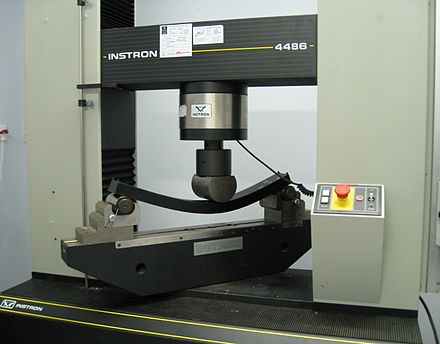 Test fixture on universal testing machine for three-point flex test Three point flexural test.jpg