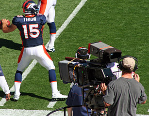 Tim Tebow Broncos rear view
