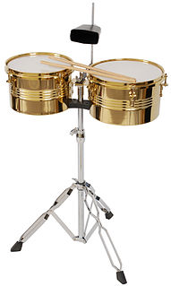 Timbales Shallow single-headed drums with a metal casing