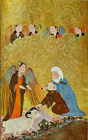 Abraham in Islam - Ibrahim's Sacrifice. Timurid Anthology, 1410-11.
