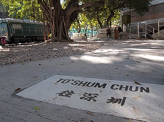 Shenzhen (market town) - A sign at the old Tai Po Market Station that reads 'To Shum Chun'